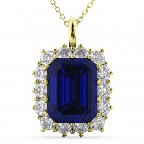 Emerald Cut Blue Sapphire and Diamond Pendant 14k Yellow Gold (5.68ct)