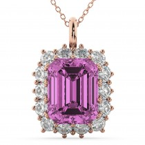 Emerald Cut Pink Sapphire and Diamond Pendant 14k Rose Gold (5.68ct)