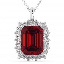 Emerald Cut Ruby & Diamond Pendant 14k White Gold (5.68ct)