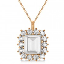 Emerald Cut White Topaz and Diamond Pendant 14k Rose Gold (5.68ct)