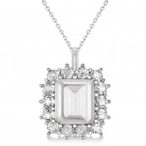 Emerald Cut White Topaz & Diamond Pendant 14k White Gold (5.68ct)