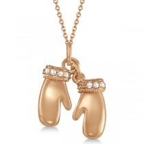 Mittens Pendant Necklace Diamond Accented 14k Pink Gold (0.06ct)