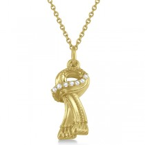 Scarf Necklace Pendant Diamond Accented 14k Yellow Gold (0.04ct)
