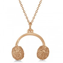 Earmuffs Pendant Necklace Plain Metal 14k Rose Gold