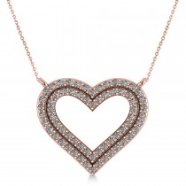Double Row Open Heart Diamond Pendant Necklace 14k Rose Gold (0.66ct)