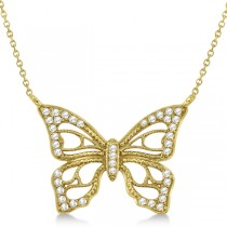 Diamond Monarch Butterfly Pendant Necklace 14k Yellow Gold 0.20ctw