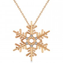 Diamond Snowflake Pendant Necklace 14k Rose Gold (0.06ct)
