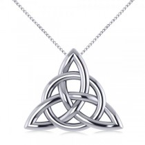 Triangular Irish Trinity Celtic Knot Pendant Necklace 14k White Gold