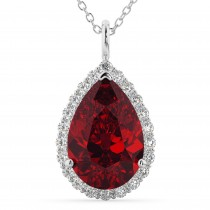 Halo Ruby and Diamond Pear Shaped Pendant Necklace 14k White Gold (8.34ct)