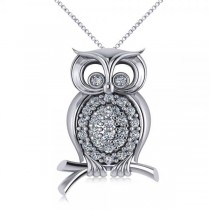 Diamond Accented Owl Pendant Necklace 14k White Gold (0.34ct)