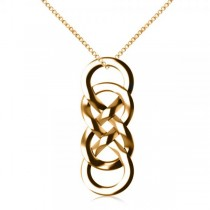 Vertical Double Infinity Pendant Necklace Plain Metal 14k Yellow Gold