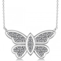 Diamond Butterfly Pendant Necklace 14k White Gold (0.24ct)