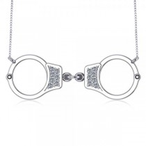 Diamond Accented Handcuffs Pendant Necklace in 14k White Gold (0.14ct)