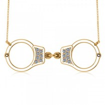 Diamond Accented Handcuffs Pendant Necklace in 14k Yellow Gold (0.14ct)