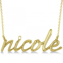 Personalized Script Font Name Pendant Necklace Solid 14k Yellow Gold