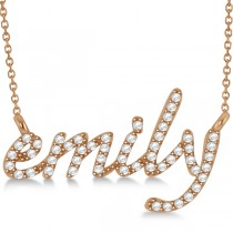 Personalized Diamond Name Pendant Necklace 14k Rose Gold