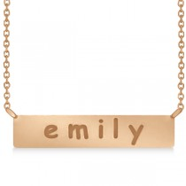 Personalized Engraved Name Necklace Bar Pendant 14k Rose Gold