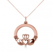 Heart Charm Claddagh Pendant Necklace in 14k Rose Gold