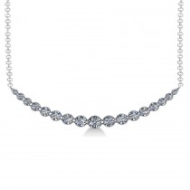 Curved Diamond Accented Pendant Necklace 14k White Gold (2.00ct)