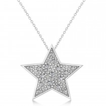 Diamond Accented Star Pendant Necklace 14K White Gold (0.26ct)