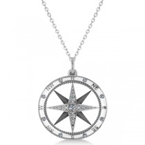 Compass Necklace Pendant Diamond Accented 18k White Gold (0.19ct)