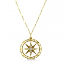 Compass Necklace Pendant Diamond Accented 18k Yellow Gold (0.19ct)