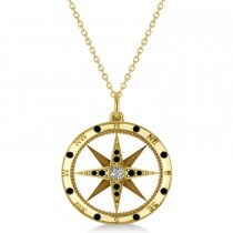 Compass Pendant Black & White Diamond Accented 14k Yellow Gold (0.19ct)