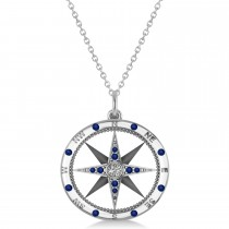 Compass Pendant Blue Sapphire & Diamond Accented 14k White Gold (0.19ct)