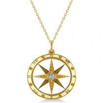 Compass Pendant Citrine & Diamond Accented 14k Yellow Gold (0.19ct)