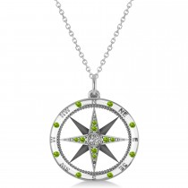 Compass Pendant Peridot & Diamond Accented 14k White Gold (0.19ct)