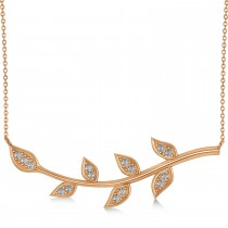 Diamond Olive Vine Leaf Necklace 14k Rose Gold (0.15ct)