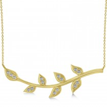 Diamond Olive Vine Leaf Necklace 14k Yellow Gold (0.15ct)