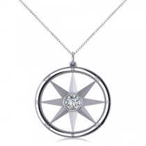 Diamond Nautical Compass Pendant Necklace 14k White Gold (0.66ct)