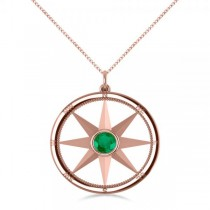 Emerald Gemstone Compass Pendant Necklace 14k Rose Gold (0.66ct)