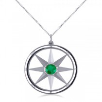 Emerald Gemstone Compass Pendant Necklace 14k White Gold (0.66ct)