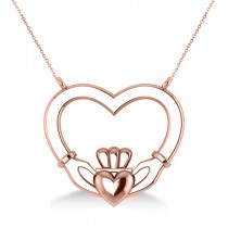 Double Heart Claddagh Pendant Necklace 14k Rose Gold