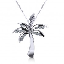 Diamond Summer Palm Tree Pendant Necklace 14k White Gold (0.24ct)