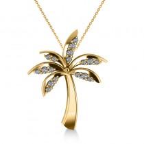 Diamond Summer Palm Tree Pendant Necklace 14k Yellow Gold (0.24ct)
