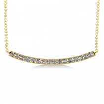 Curved Diamond Bar Pendant Necklace 14k Yellow Gold (0.80ct)