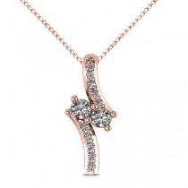 Diamond Two Stone Pendant Necklace 14k Rose Gold (0.15ct)