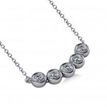 Bezel-set Five-Stone Diamond Pendant Necklace 14k White Gold (0.25ct)
