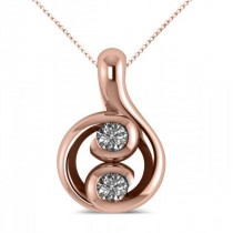 Diamond Two Stone Pendant Necklace 14k Rose Gold (0.16ct)