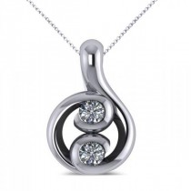 Diamond Two Stone Pendant Necklace 14k White Gold (0.16ct)