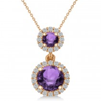 Two Stone Amethyst & Halo Diamond Necklace 14k Rose Gold (1.50ct)
