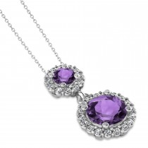 Two Stone Amethyst & Halo Diamond Necklace 14k White Gold (1.50ct)