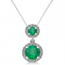 Two Stone Emerald & Halo Diamond Necklace 14k White Gold (1.50ct)