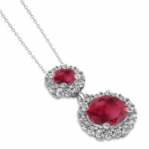 Two Stone Ruby & Halo Diamond Necklace 14k White Gold (1.50ct)