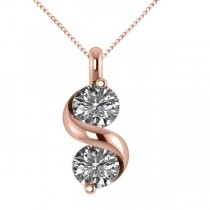 Diamond Swirl Two Stone Pendant Necklace 14k Rose Gold (1.00ct)