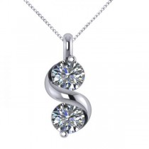 Diamond Swirl Two Stone Pendant Necklace 14k White Gold (1.00ct)