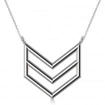 Triple Row Chevron Trapeze Pendant Necklace 14k White Gold
